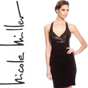 Nicole Miller Black Leather Bodycon Dress Sz 8